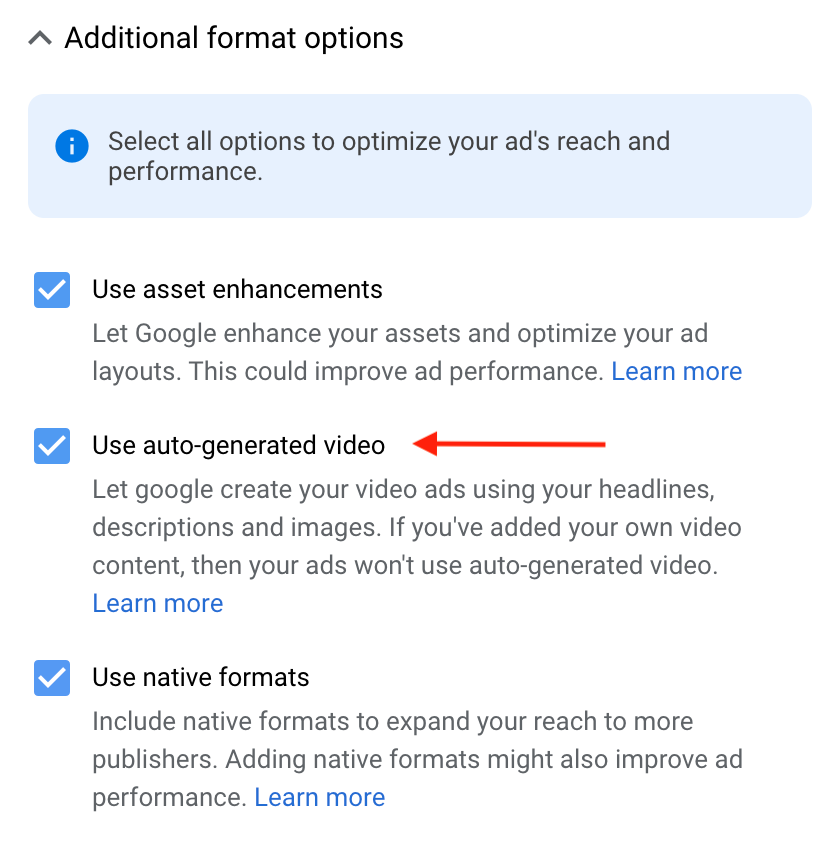 Auto-Generated Video Ads Check Box
