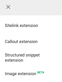 Ad Extension Dropdown