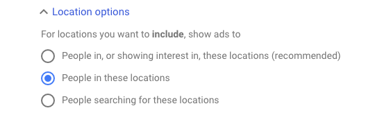 Location Options Google Ads