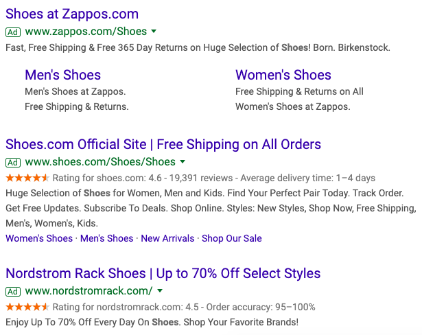 Example of Ads on the SERP