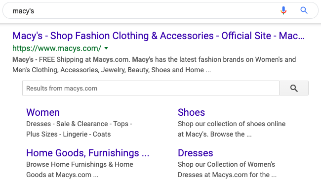 Site Links for Macy's Google Search