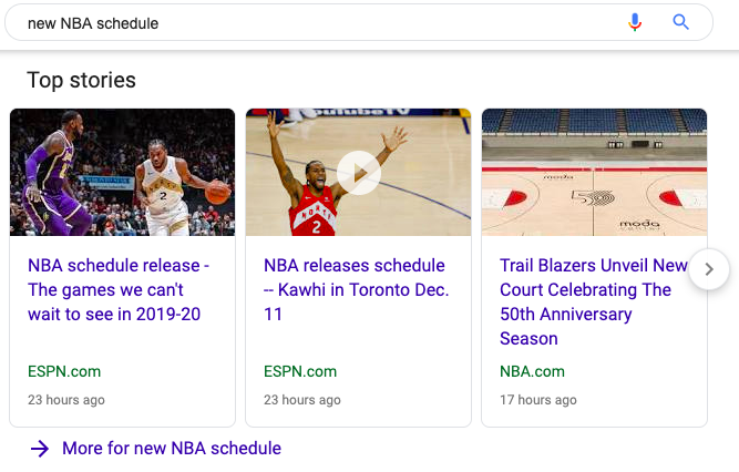 Top Stories for New NBA Schedule