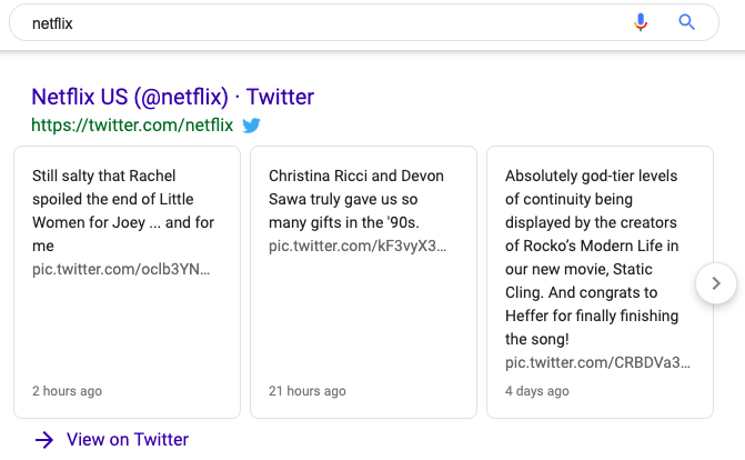 Netflix Tweets on the Google SERP