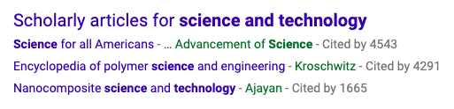 Scholarly Articles for Science and Technology