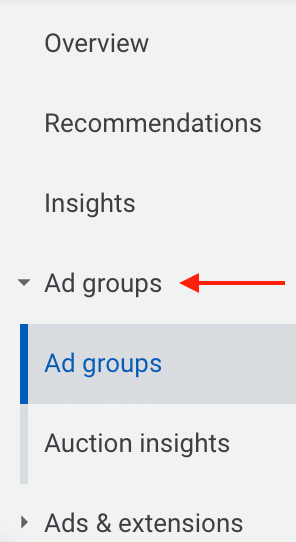 Ad Groups tab in Google Ads