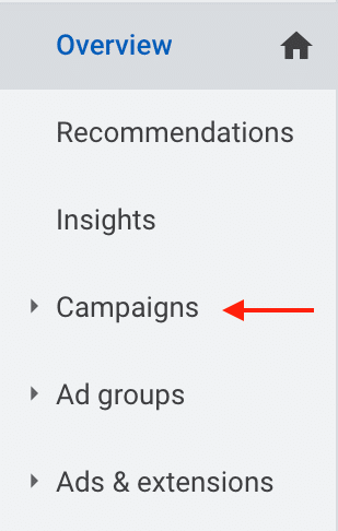 Campaigns tab in Google Ads