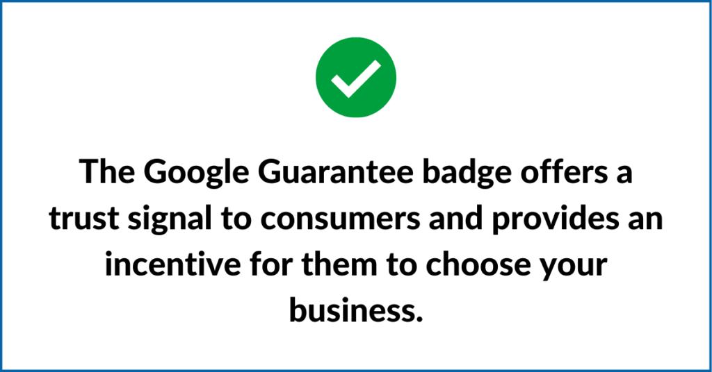 Google Guarantee badge offers trust signal