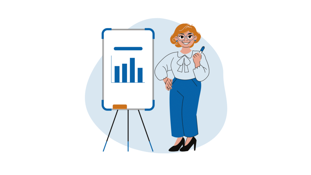 Woman standing in front of chart