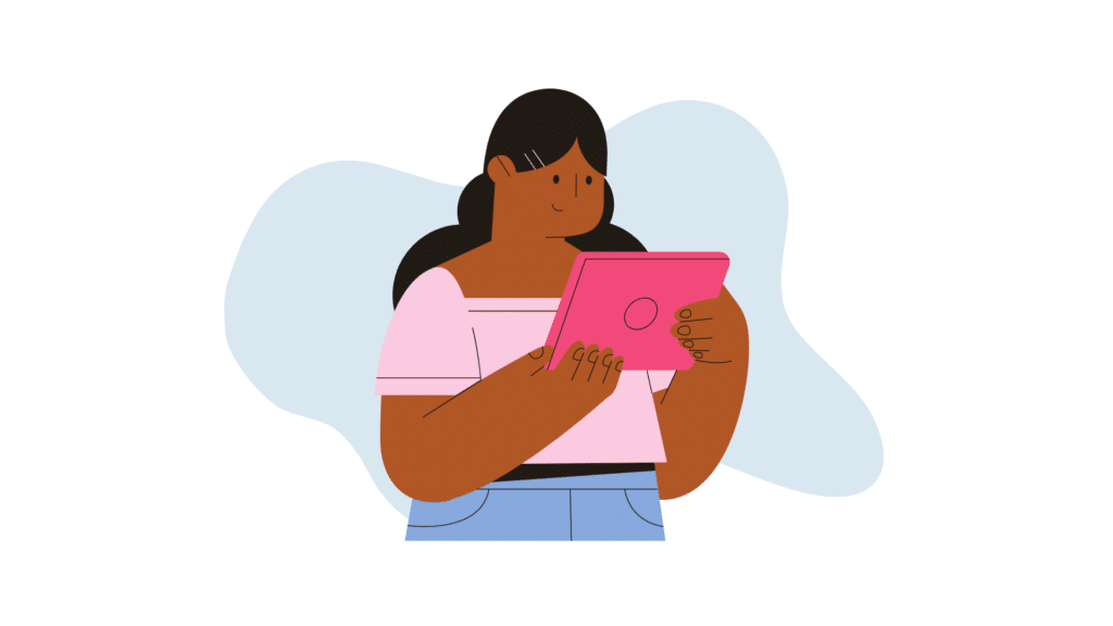 Woman looking at a tablet
