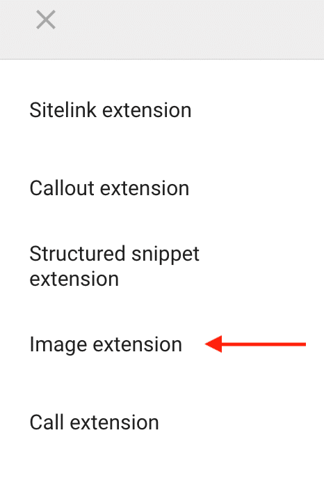 Image extension option in Google Ads