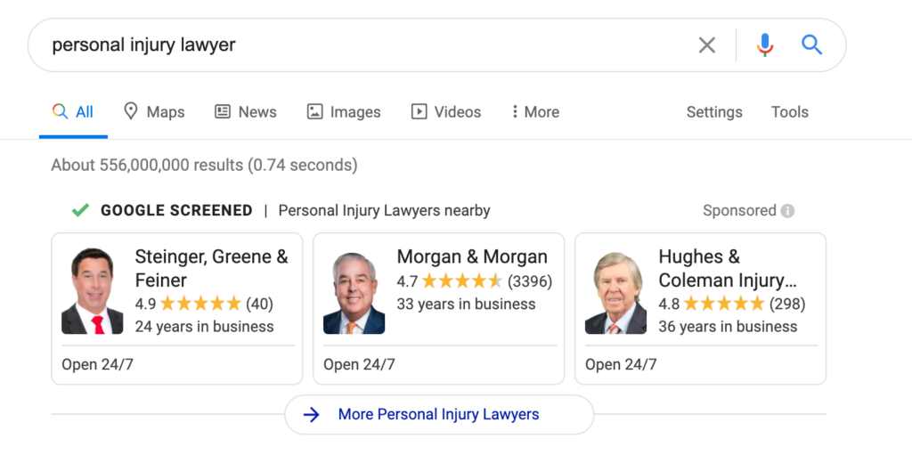 local services ad for lawyers