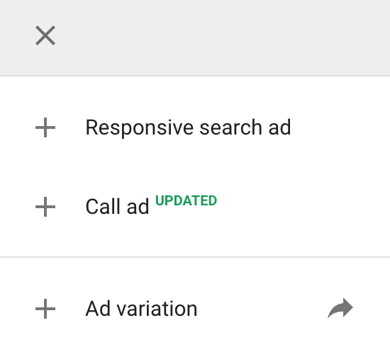 popup when creating a new ad in Google
